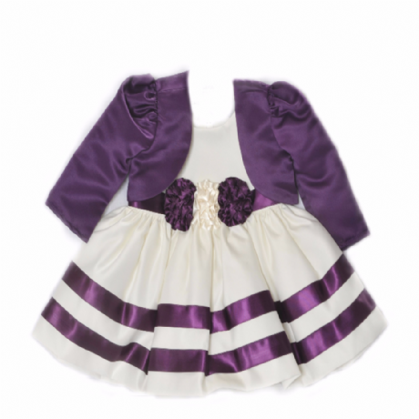 Girls Ivory & Cadbury's Purple Ribbon Rosette Dress Set